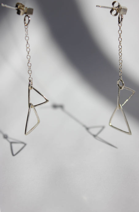 Fine triangle drop earrings