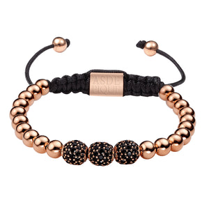 AS DE PIQUE Shamballa Armband Three Ball rosegold