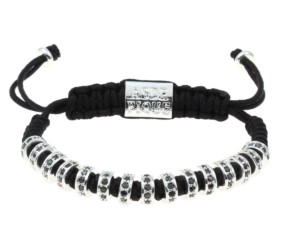 AS DE PIQUE Shamballa Armband Multistopper silber