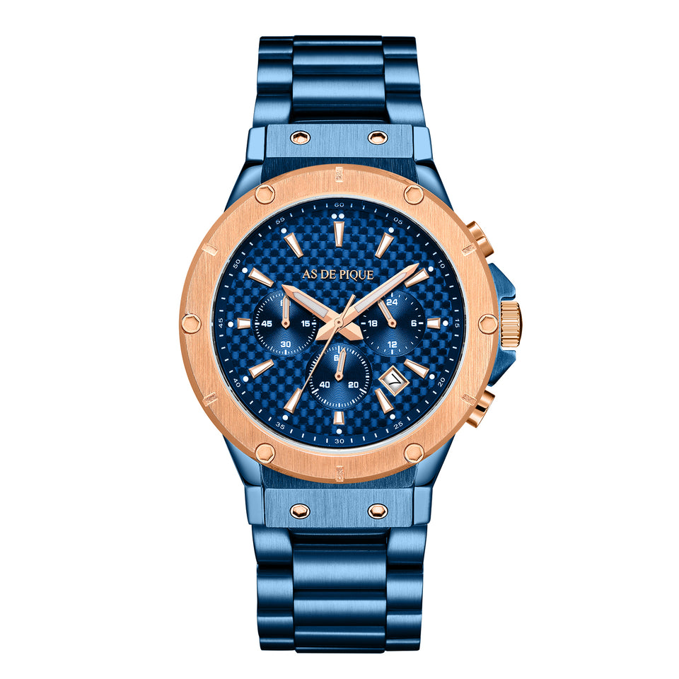 AS DE PIQUE Master Carbon Blau Rosegold Edelstahl 45mm