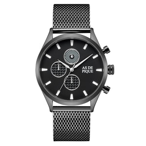 AS DE PIQUE Turbine Schwarz Grau 42mm Milanaise
