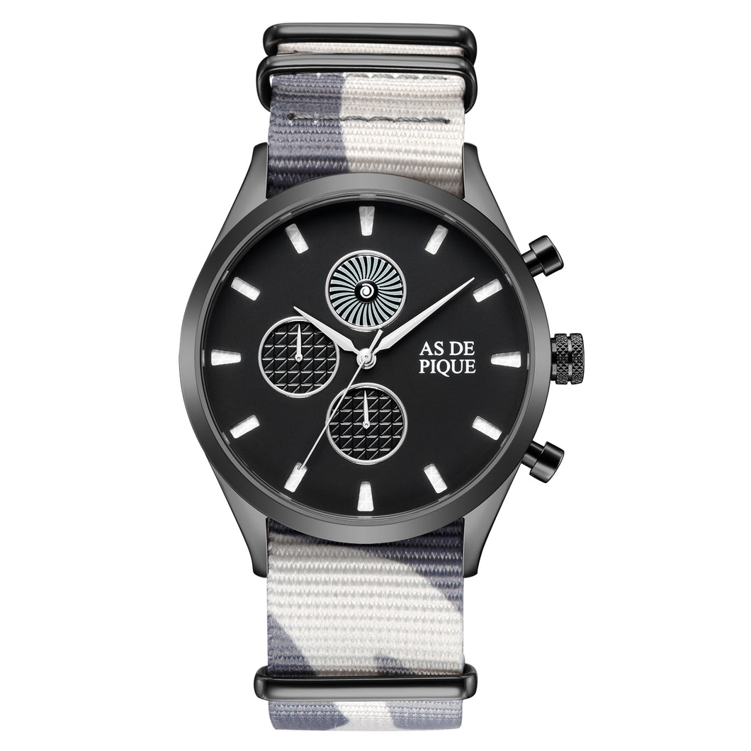AS DE PIQUE Turbine Schwarz Grau Nato 42mm Stoff