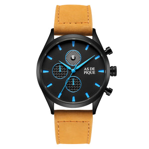 AS DE PIQUE Turbine Schwarz Blau Beige 42mm