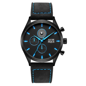 AS DE PIQUE Turbine Schwarz Blau 42mm Leder