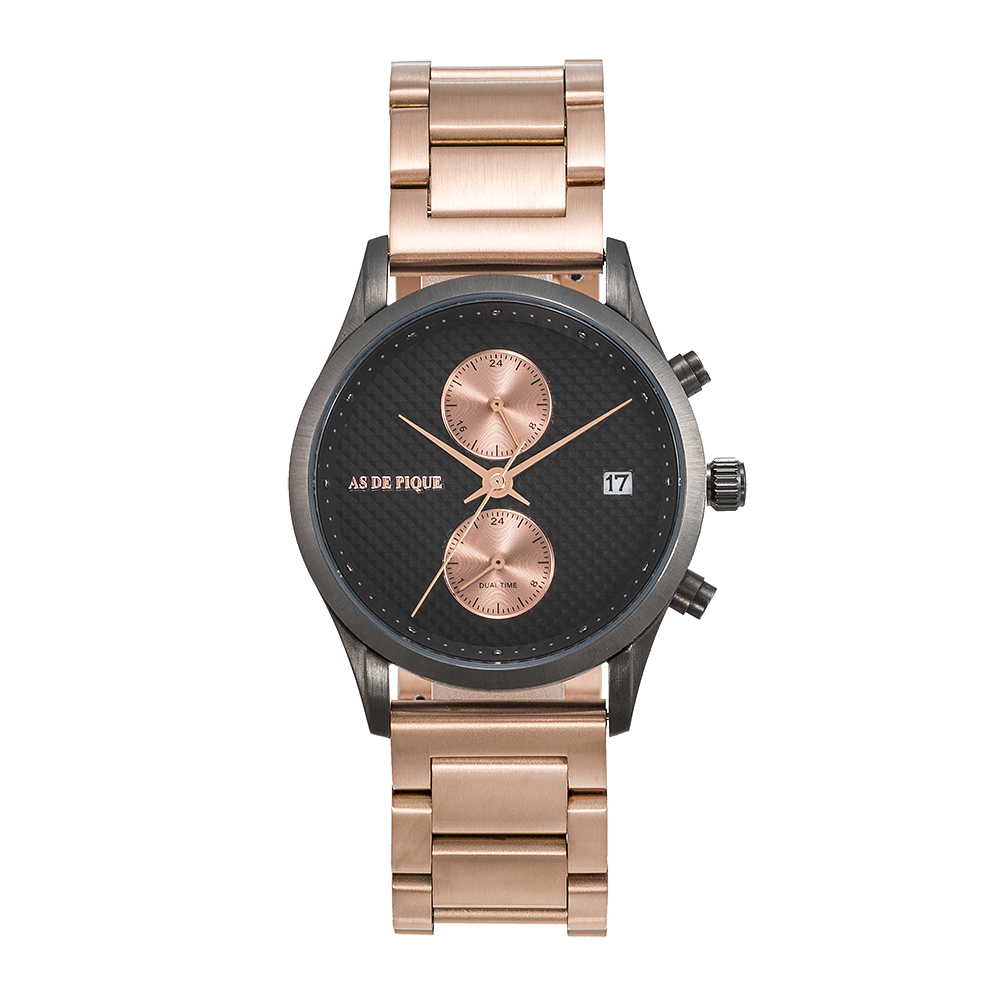AS DE PIQUE Briony Gun-Grey-Rosegold Stahl 38mm
