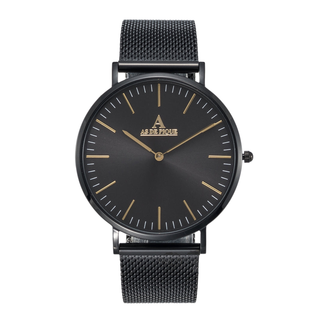 AS DE PIQUE Hyperion Schwarz-Gold Milanaise 41mm