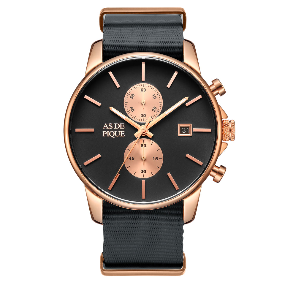 AS DE PIQUE Chrono Rosegold Grau Nato 43mm
