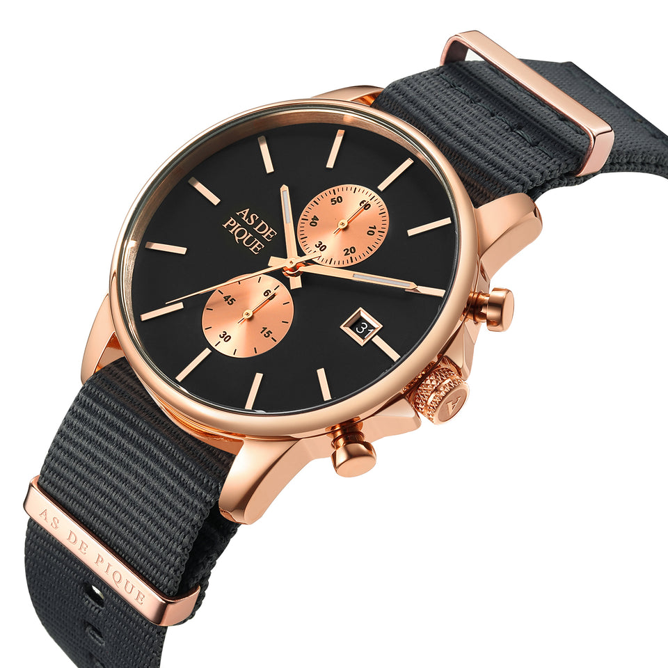 AS DE PIQUE Chrono Rosegold Grau Nato Strap 43mm