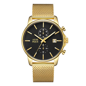 AS DE PIQUE Chrono gold Mesharmband 43mm