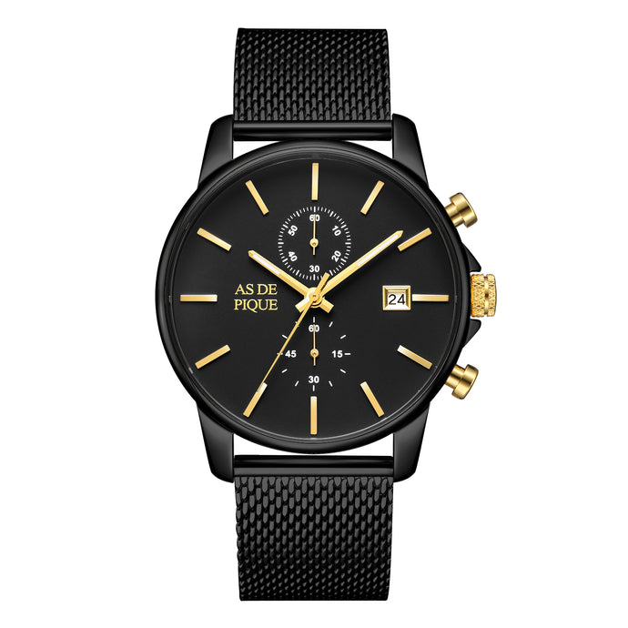 AS DE PIQUE Chrono schwarz gold Mesharmband 43mm