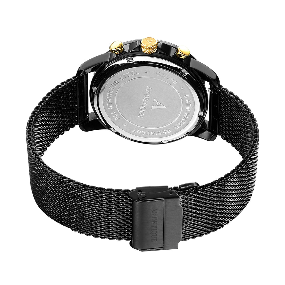 AS DE PIQUE Chrono Schwarz Gold Milanaise 43mm