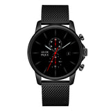 AS DE PIQUE Chrono Schwarz Rot Milanaise 43mm