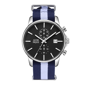 AS DE PIQUE Chrono Silber Nato Strap 43mm
