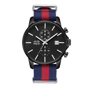 AS DE PIQUE Chrono Natostrap schwarz 43mm