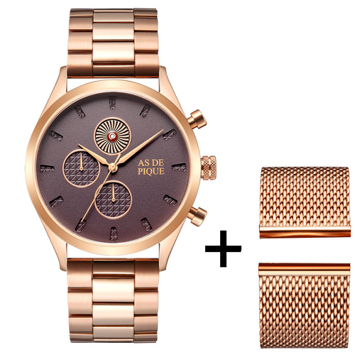 AS DE PIQUE Turbine rosegold 42mm + GRATIS Band