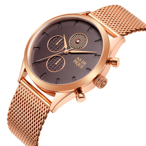 AS DE PIQUE Turbine Rosegold 42mm Milanaise