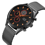 AS DE PIQUE Turbine Schwarz Orange 42mm Milanaise