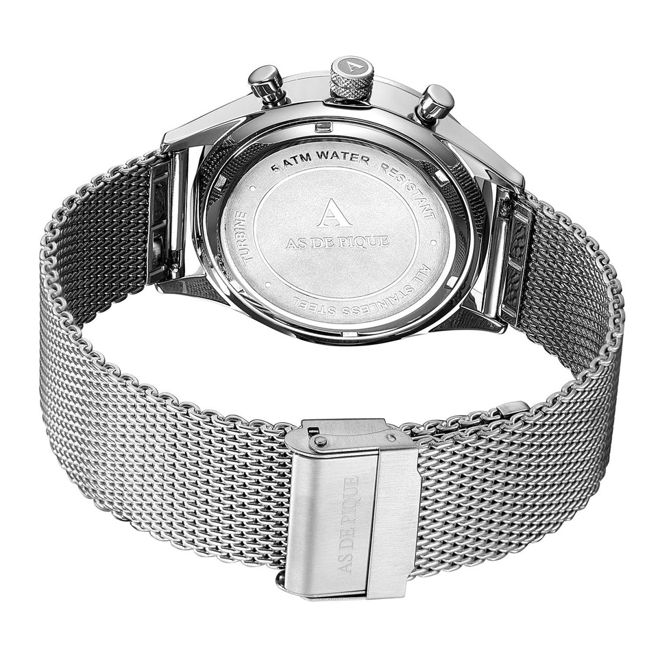 AS DE PIQUE Turbine Silber 42mm Milanaise