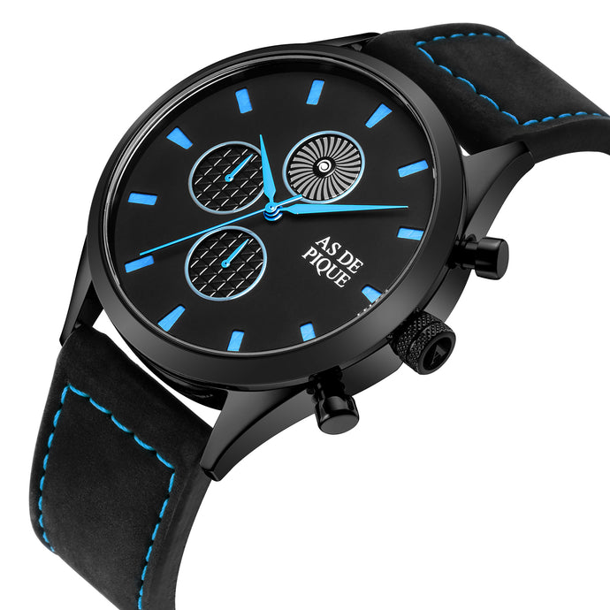 AS DE PIQUE Turbine Schwarz Blau Leder 42mm