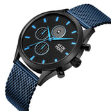 AS DE PIQUE Turbine Schwarz Blau 42mm Milanaise
