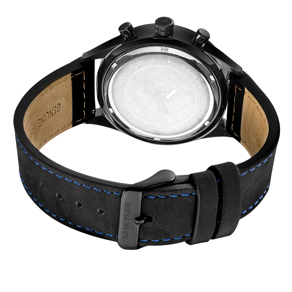 AS DE PIQUE Turbine schwarz blau 42mm + GRATIS Band