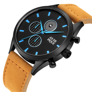 AS DE PIQUE Turbine Schwarz Blau Braun Leder 42mm