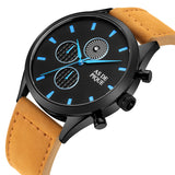 AS DE PIQUE Turbine Schwarz Blau Beige 42mm Leder Orange