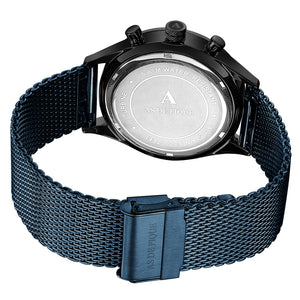 AS DE PIQUE Turbine schwarz blau braun 42mm + GRATIS Band