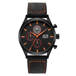 AS DE PIQUE Turbine Schwarz Orange Leder 42mm