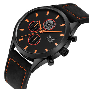 AS DE PIQUE Turbine Schwarz Orange 42mm Leder