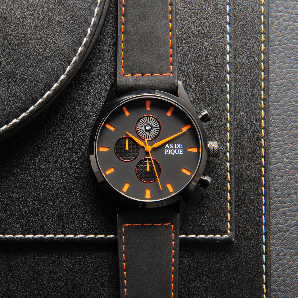 AS DE PIQUE Turbine Schwarz Orange 42mm