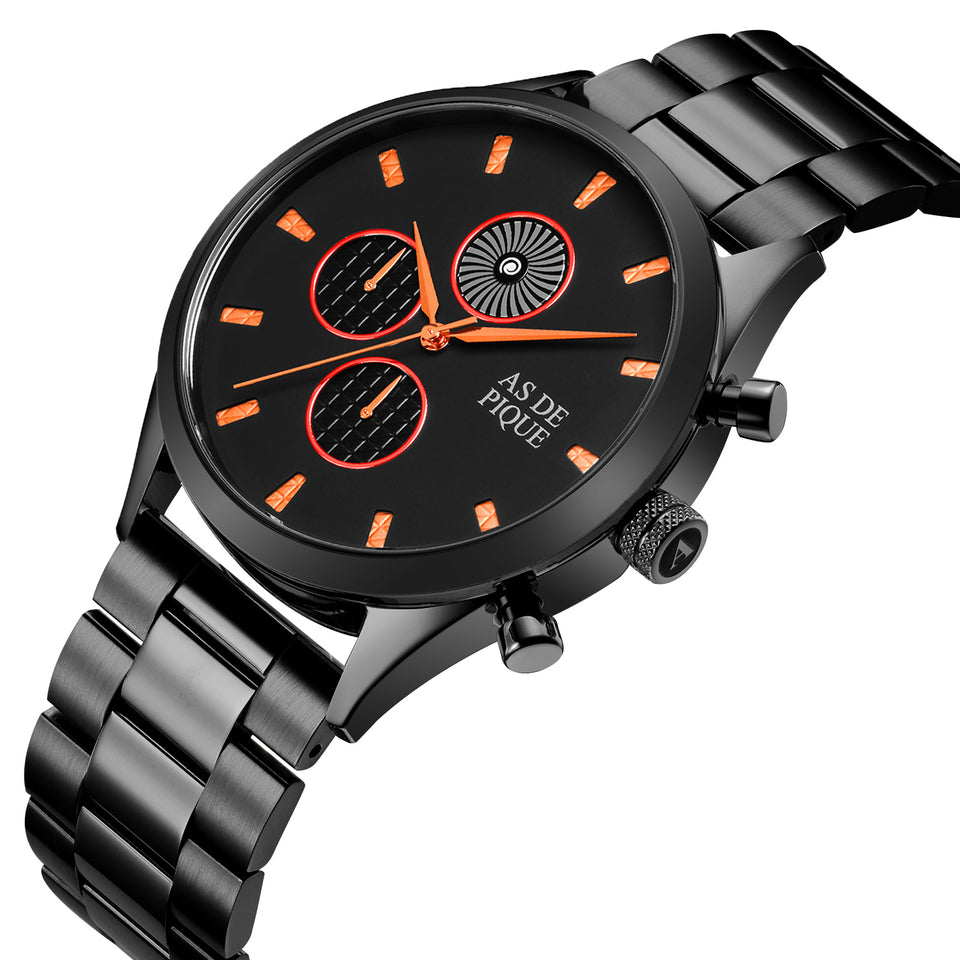 AS DE PIQUE Turbine Schwarz Orange 42mm Edelstahl