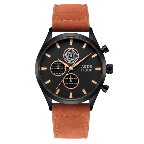 AS DE PIQUE Turbine Schwarz Rose Braun Leder 42mm