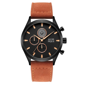 AS DE PIQUE Turbine Schwarz Rose Braun 42mm Leder