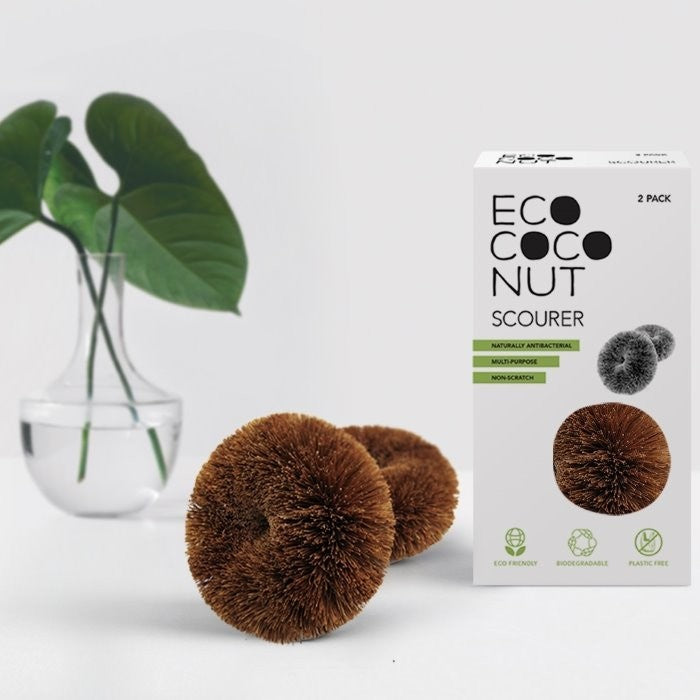 Twin pack scourer made from coconut fibres
