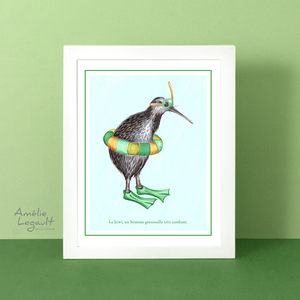 kiwi bird art print, kiwi bird illustration, kiwi bird art work, amelie legault, snorkelling, home decor, kiwi decor, canadian artist