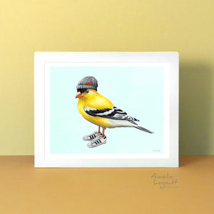 Fashionable Birds, birds wearing shoes, bird art print, bird painting, chicken, hen, Amélie Legault, Canadian Artist, made in canada, fait au québec, artiste québécoise
