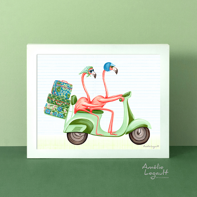 PINK FLAMINGOS - Art prints & Cards