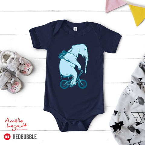 Elephant on bike onesie