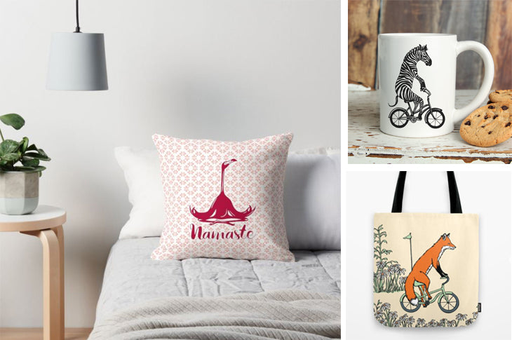 Animals on bikes, Pillow cases, tote bags and cups, Animaux à vélo, housses de coussins, tasses et sacs