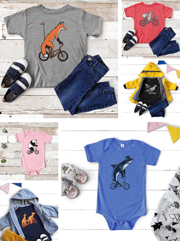 Animals on bikes, kids t-shirts by Amelie Legault, Animaux à vélo, chandails pour enfants