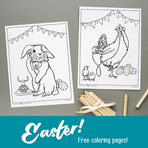 Easter coloring pages, free coloring, amelie legault, easter bunny, easter hen, chicks, easter eggs
