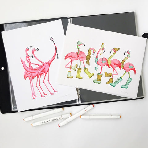 flamingo illustration, original artwork, amelie legault, selfie, winter, ink drawing