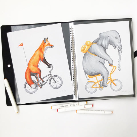 animals on bikes, fox illustration, elephant illustration, amelie legault, ink drawing, original artwork
