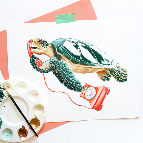 Turtle on the phone, Art print by Amelie Legault