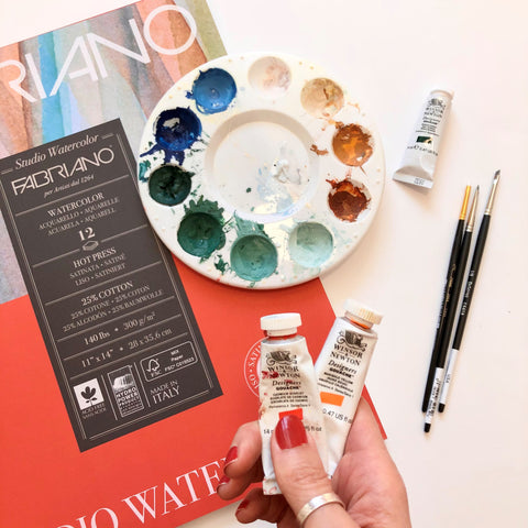 Art supplies favorites Fabriano paper and winsor and newton gouache