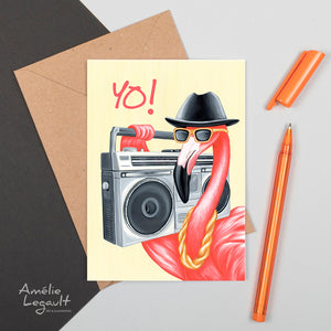 Pink flamingo card, run dmc, hip hop, rap, greeting card, birthday card, amelie legault, yo
