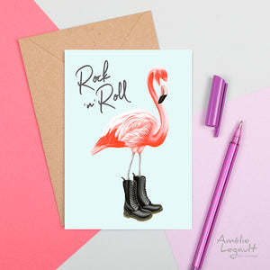 flamant rose, carte de flamant rose, carte de souhaits, amelie legault, made in canada, fait au québec, Doc martens, rock n' roll card