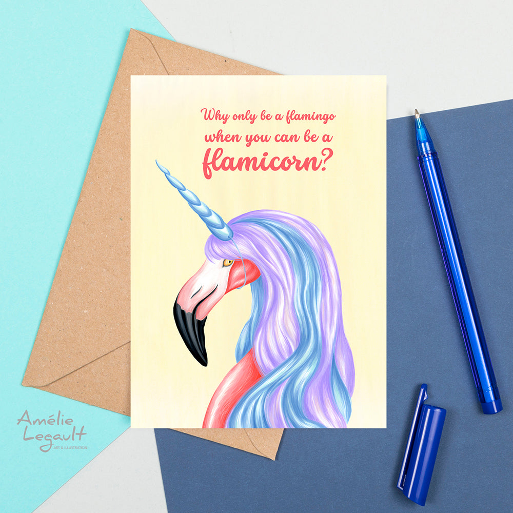 unicorn card, flamingo card, birthday card, greeting card, amelie legault, pink flamingo illustration, made in canada