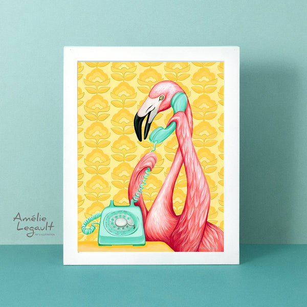 Pink flamingo, vintage phone, art print, gouache painting, amelie legault, flamingo art, flamingo love, flamingo decor, flamingo illustration, phone illustration